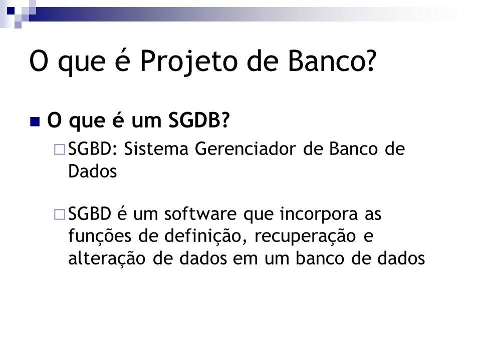 O que é Projeto de Banco O que é um SGDB