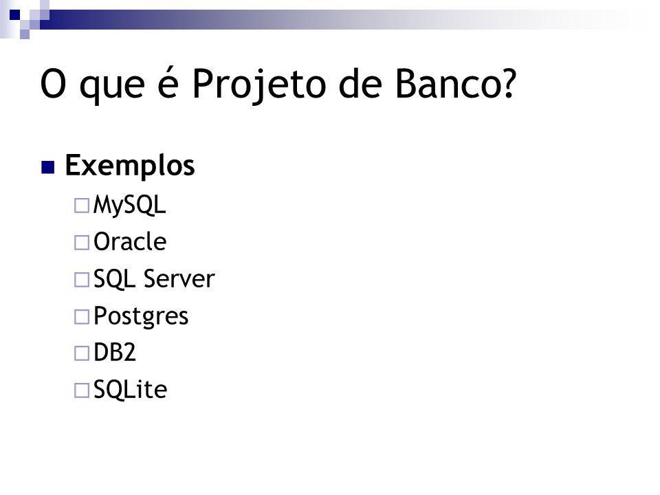 O que é Projeto de Banco Exemplos MySQL Oracle SQL Server Postgres