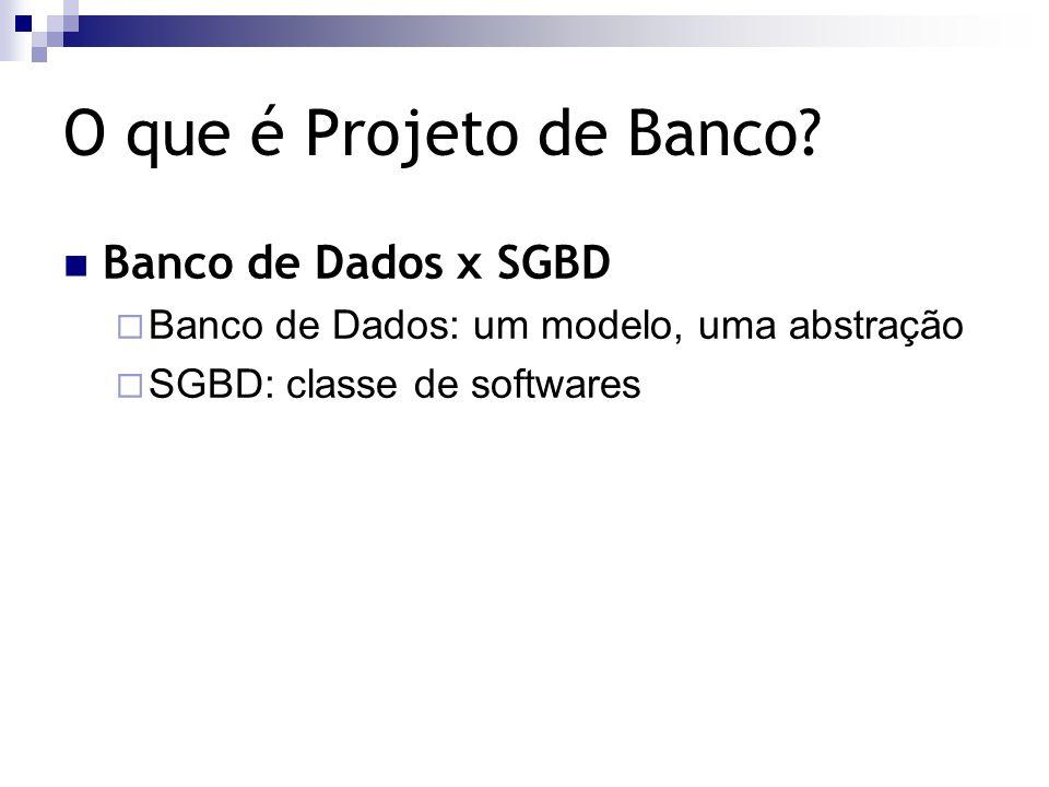 O que é Projeto de Banco Banco de Dados x SGBD