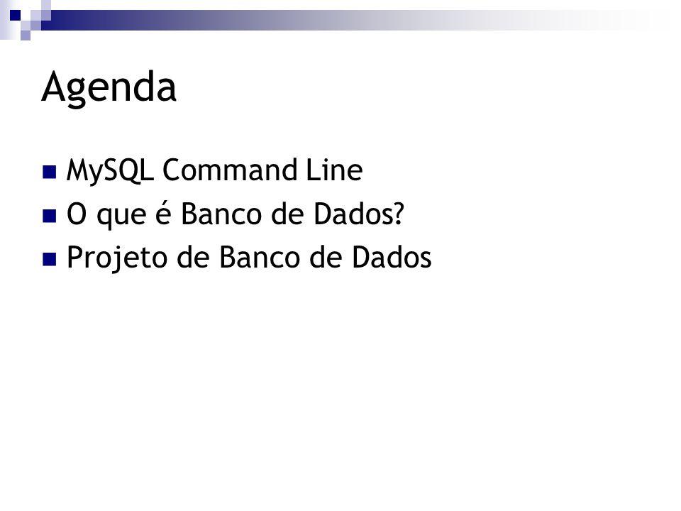 Agenda MySQL Command Line O que é Banco de Dados
