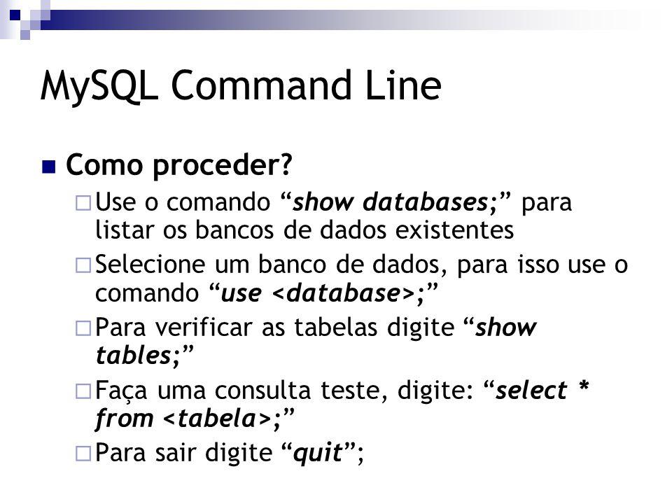 MySQL Command Line Como proceder