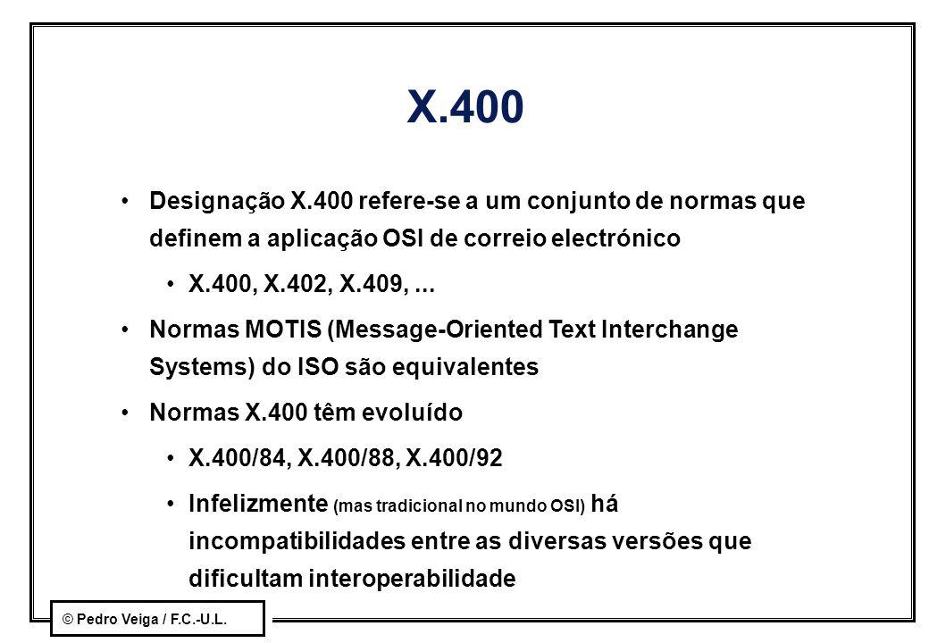 X.400 Designação X.400 refere-se a um conjunto de normas que definem a aplicação OSI de correio electrónico.