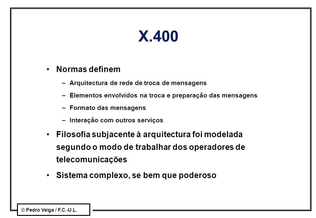 X.400 Normas definem. Arquitectura de rede de troca de mensagens. Elementos envolvidos na troca e preparação das mensagens.
