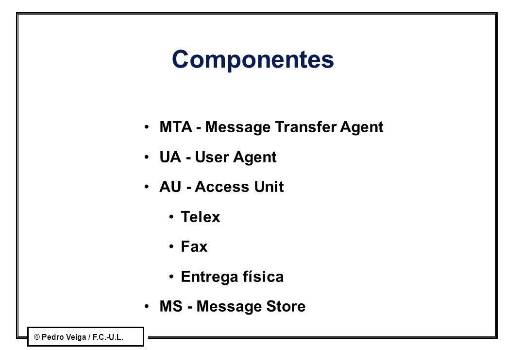 Componentes MTA - Message Transfer Agent UA - User Agent
