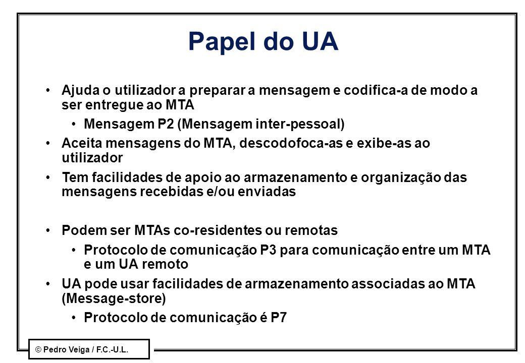Papel do UA Ajuda o utilizador a preparar a mensagem e codifica-a de modo a ser entregue ao MTA. Mensagem P2 (Mensagem inter-pessoal)