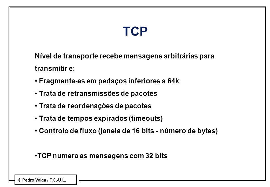 TCP Nível de transporte recebe mensagens arbitrárias para transmitir e: Fragmenta-as em pedaços inferiores a 64k.