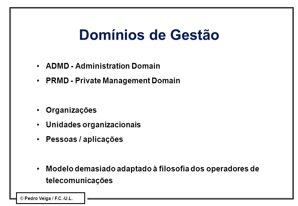 Domínios de Gestão ADMD - Administration Domain