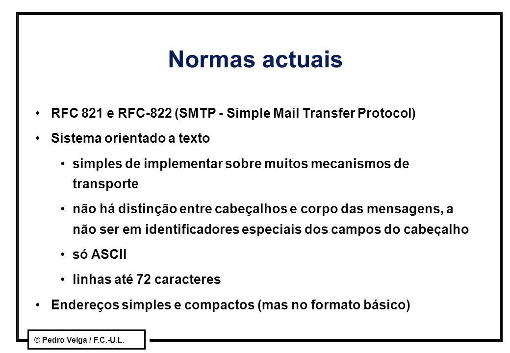 Normas actuais RFC 821 e RFC-822 (SMTP - Simple Mail Transfer Protocol) Sistema orientado a texto.