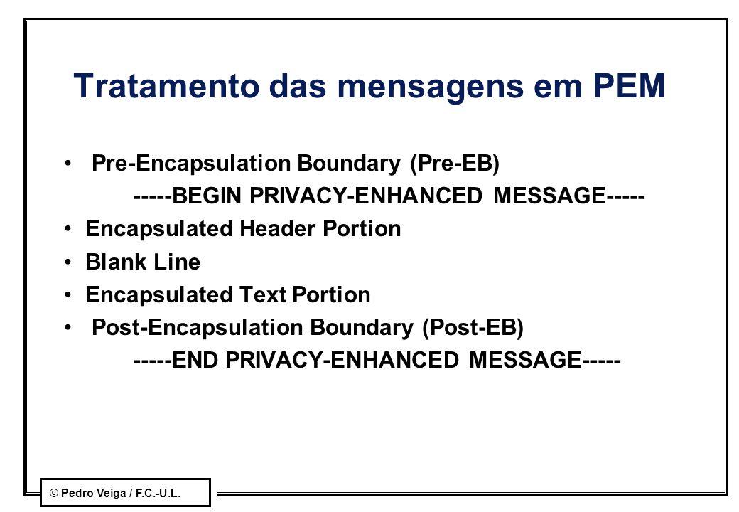 Tratamento das mensagens em PEM