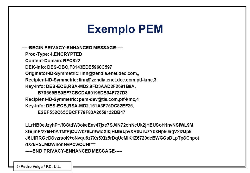 Exemplo PEM -----BEGIN PRIVACY-ENHANCED MESSAGE-----