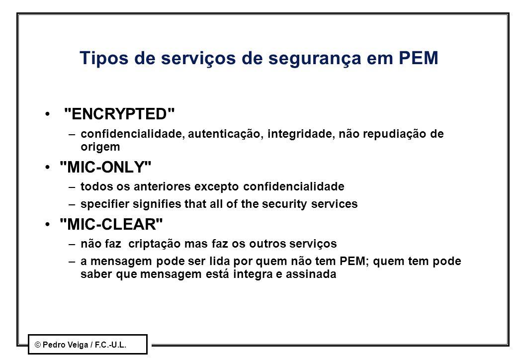 Tipos de serviços de segurança em PEM