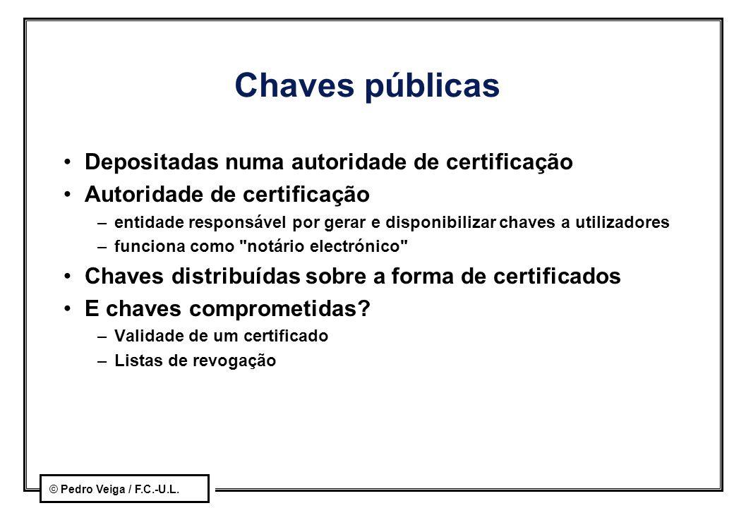 Chaves públicas Depositadas numa autoridade de certificação