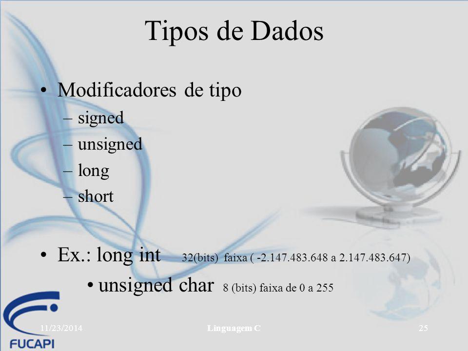 Tipos de Dados Modificadores de tipo
