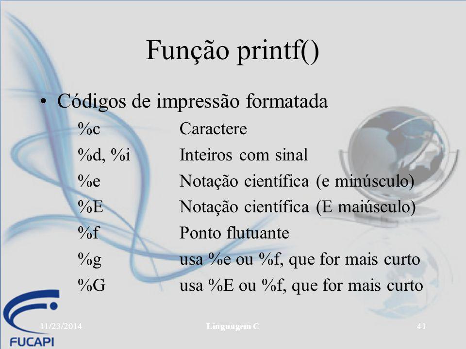 Função printf() Códigos de impressão formatada %c Caractere