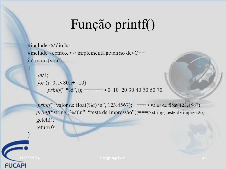 Função printf() #include <stdio.h>