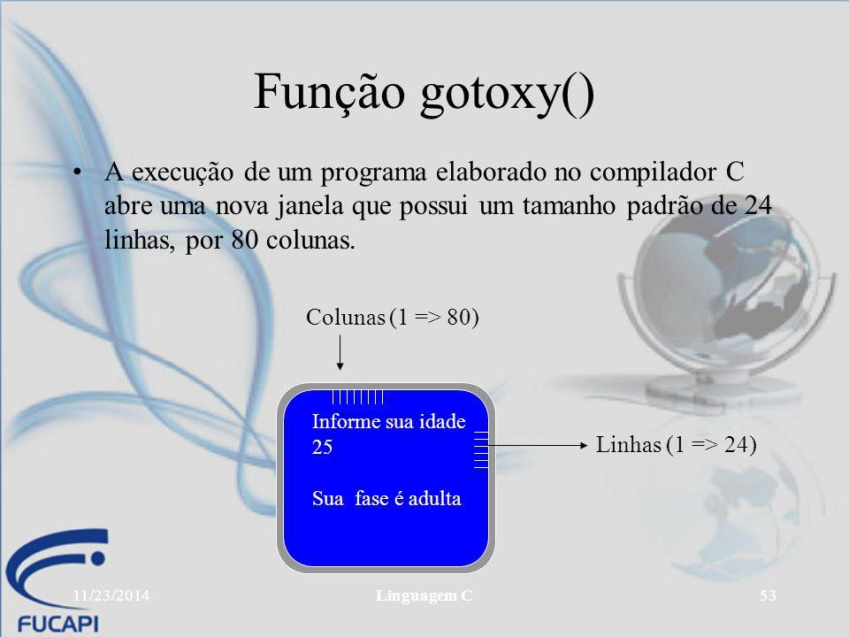 Função gotoxy() A execução de um programa elaborado no compilador C abre uma nova janela que possui um tamanho padrão de 24 linhas, por 80 colunas.