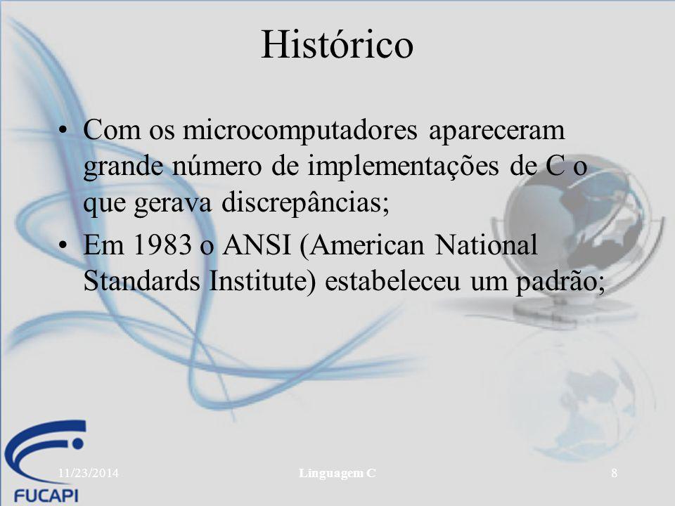Histórico Com os microcomputadores apareceram grande número de implementações de C o que gerava discrepâncias;