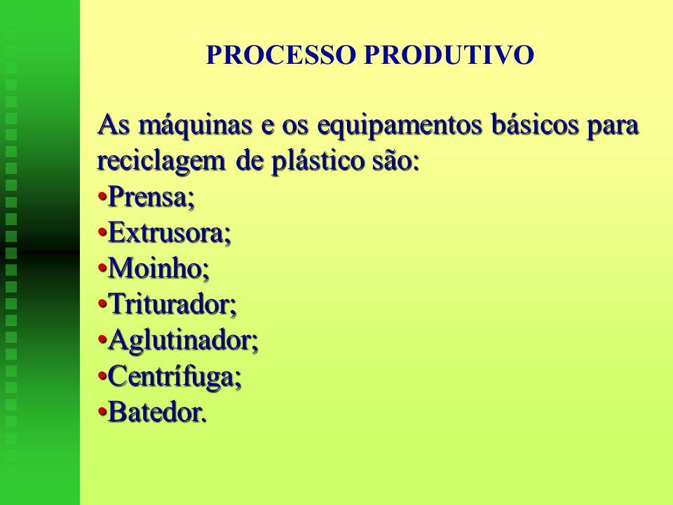 As máquinas e os equipamentos básicos para reciclagem de plástico são: