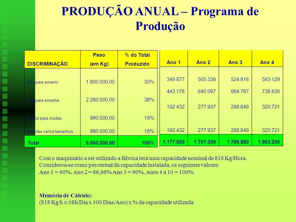 PRODUÇÃO ANUAL – Programa de Produção