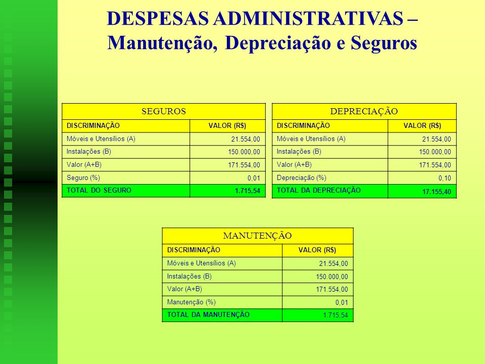 DESPESAS ADMINISTRATIVAS – Manutenção, Depreciação e Seguros