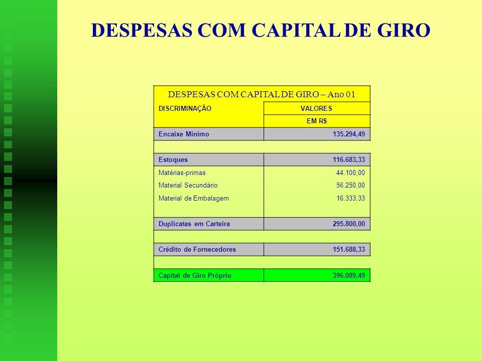 DESPESAS COM CAPITAL DE GIRO