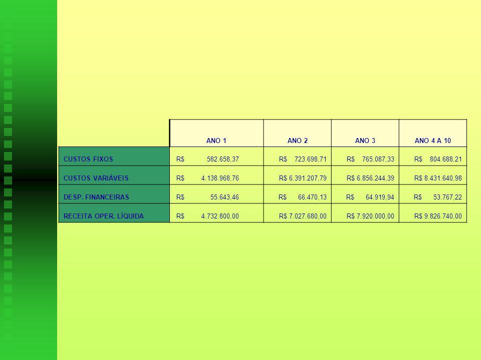 ANO 1 ANO 2. ANO 3. ANO 4 A 10. CUSTOS FIXOS. R$ 582.658,37. R$ 723.698,71. R$ 765.087,33.
