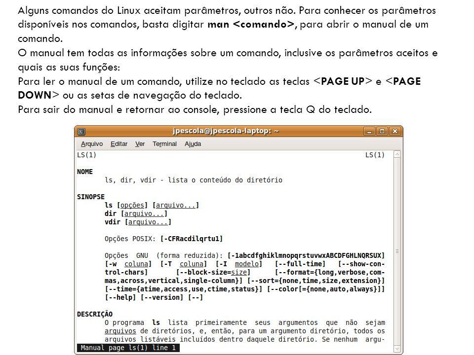 Alguns comandos do Linux aceitam parâmetros, outros não