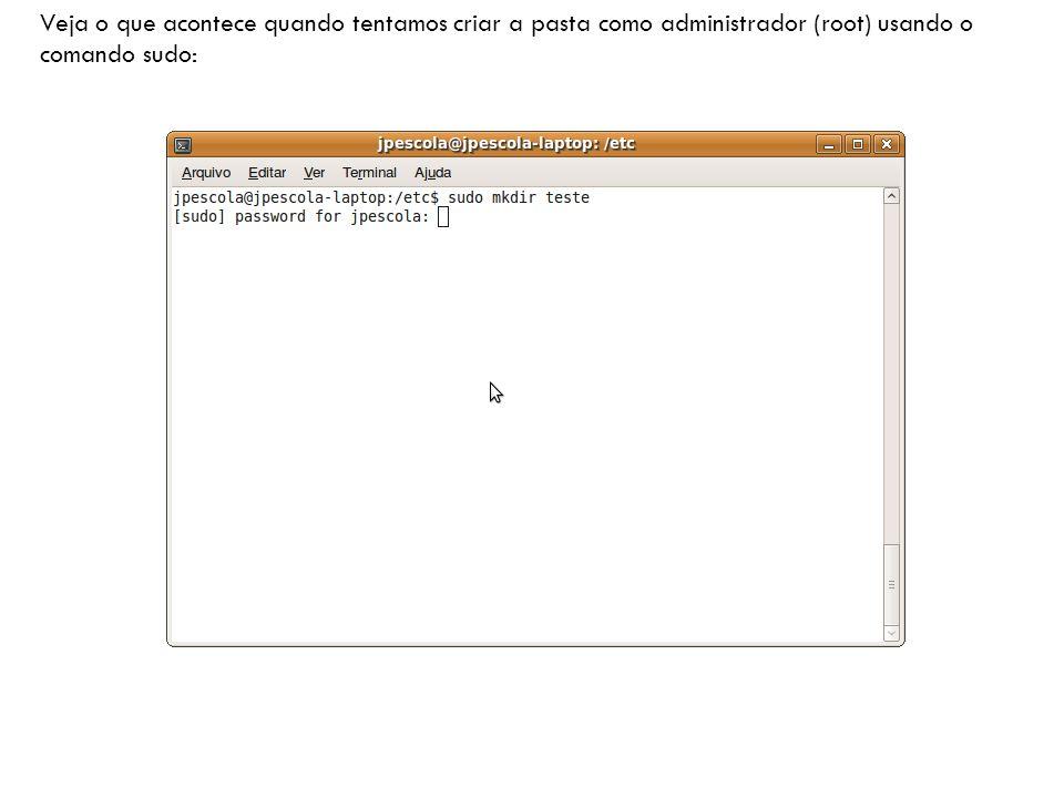 Veja o que acontece quando tentamos criar a pasta como administrador (root) usando o comando sudo: