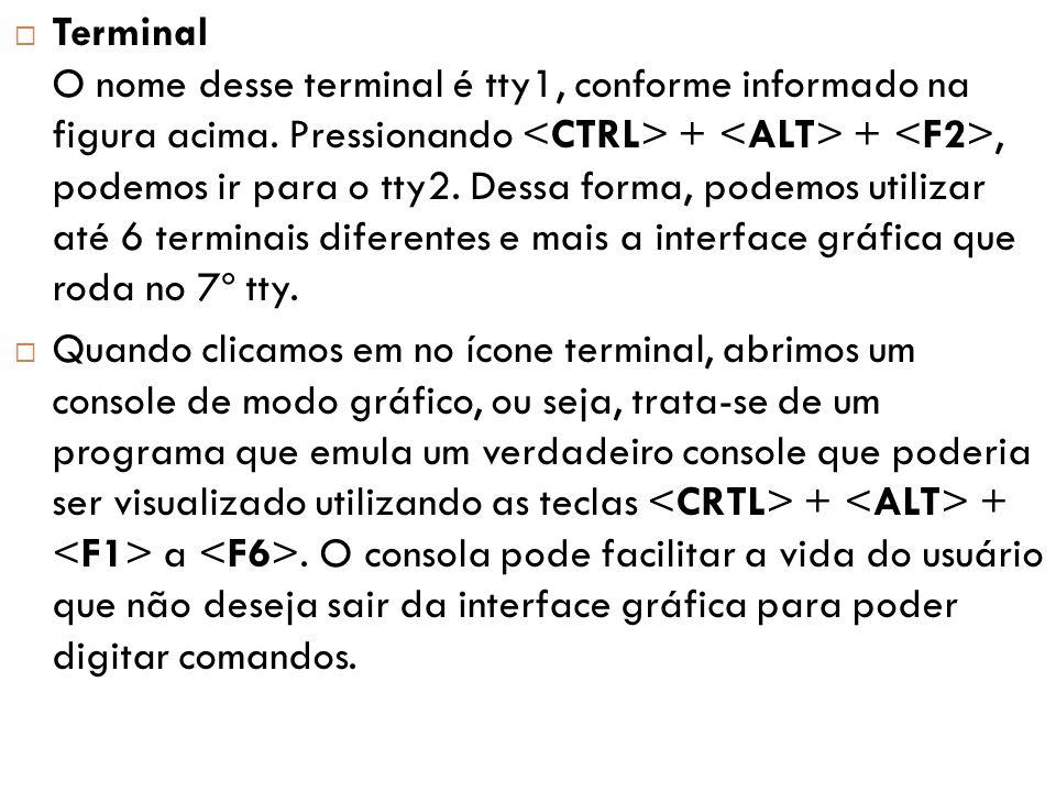 Terminal O nome desse terminal é tty1, conforme informado na figura acima. Pressionando <CTRL> + <ALT> + <F2>, podemos ir para o tty2. Dessa forma, podemos utilizar até 6 terminais diferentes e mais a interface gráfica que roda no 7º tty.