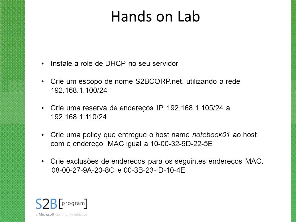 Hands on Lab Instale a role de DHCP no seu servidor