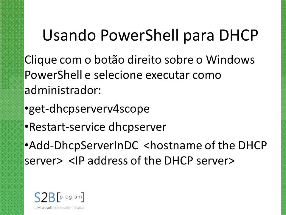 Usando PowerShell para DHCP