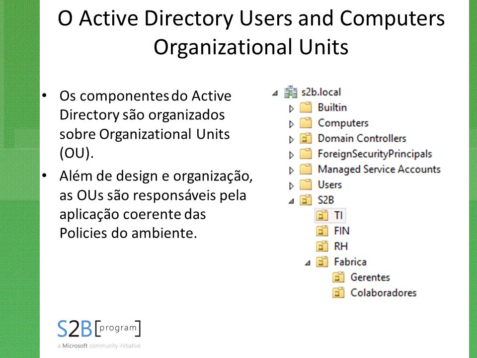 O Active Directory Users and Computers Organizational Units