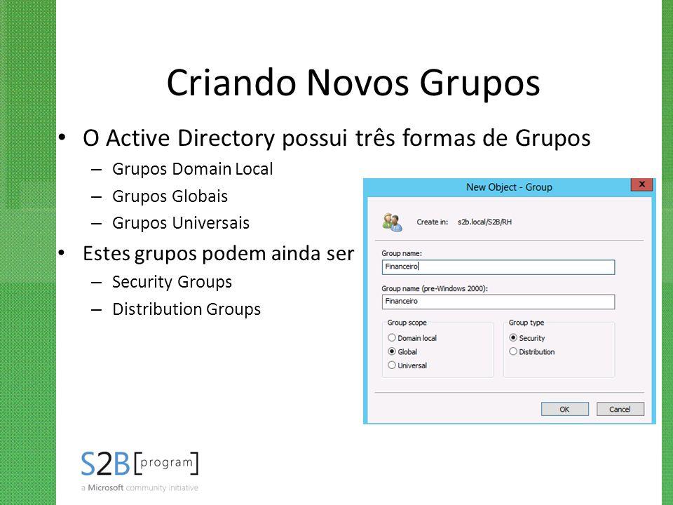 Criando Novos Grupos O Active Directory possui três formas de Grupos