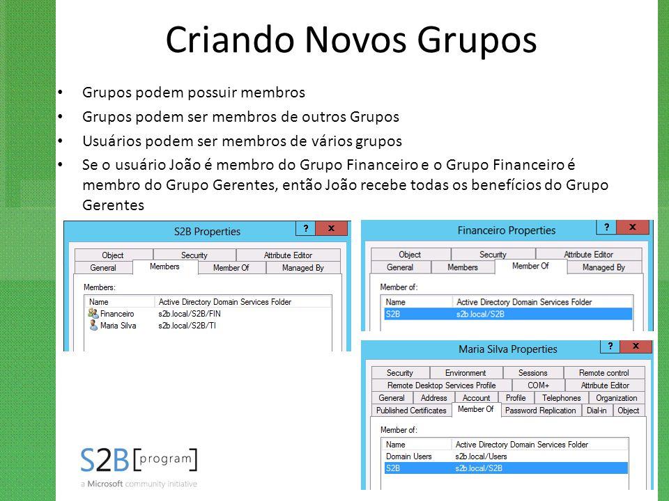 Criando Novos Grupos Grupos podem possuir membros