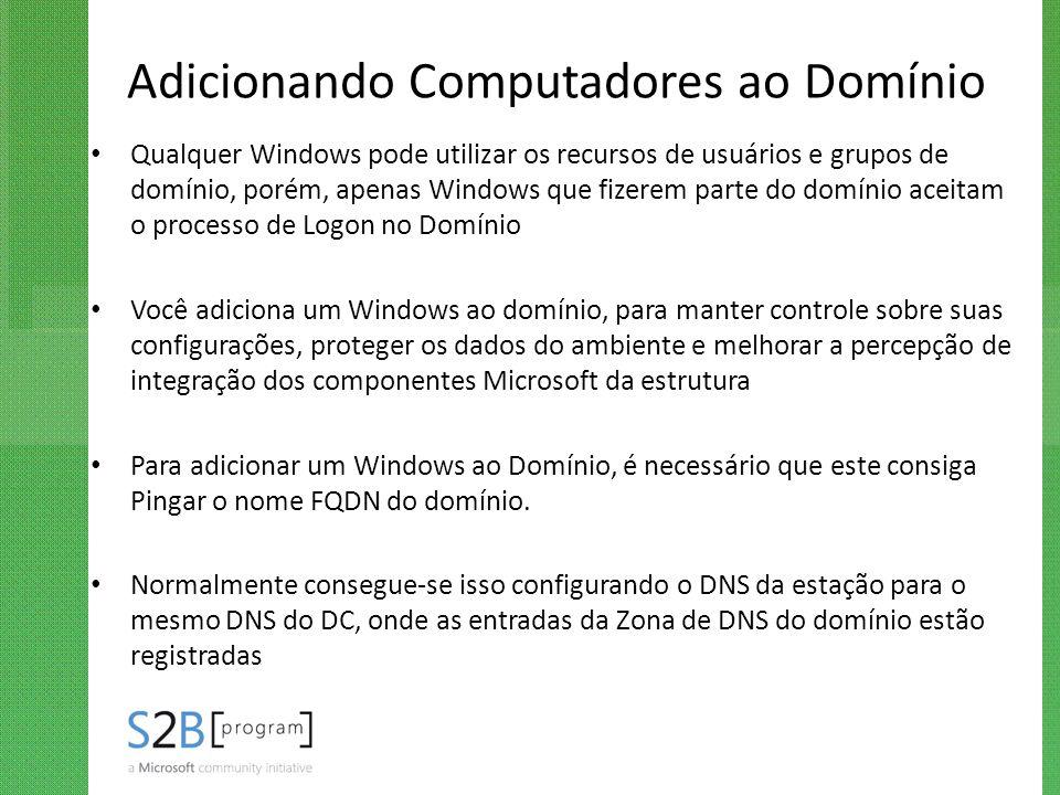 Adicionando Computadores ao Domínio