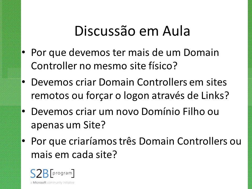 Discussão em Aula Por que devemos ter mais de um Domain Controller no mesmo site físico