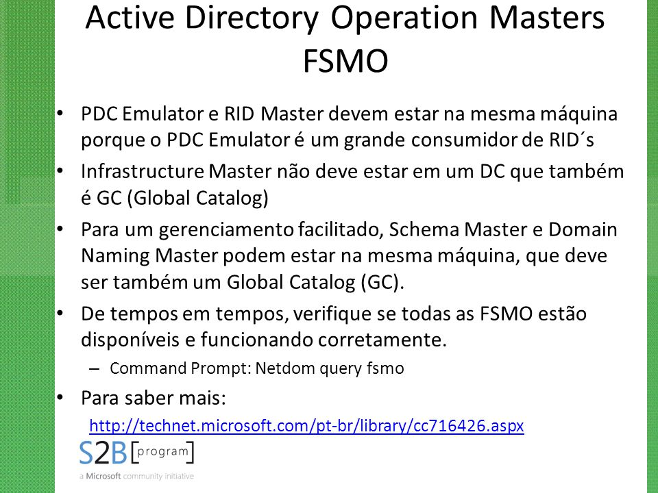 Active Directory Operation Masters FSMO