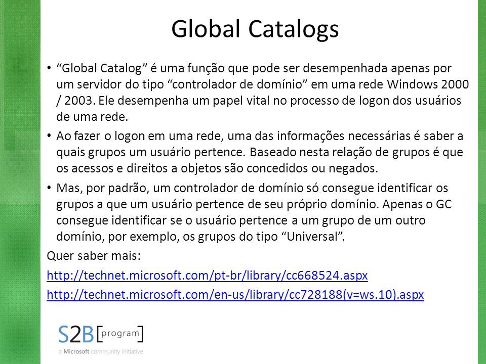 Global Catalogs