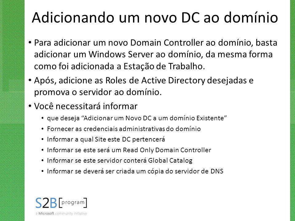 Adicionando um novo DC ao domínio