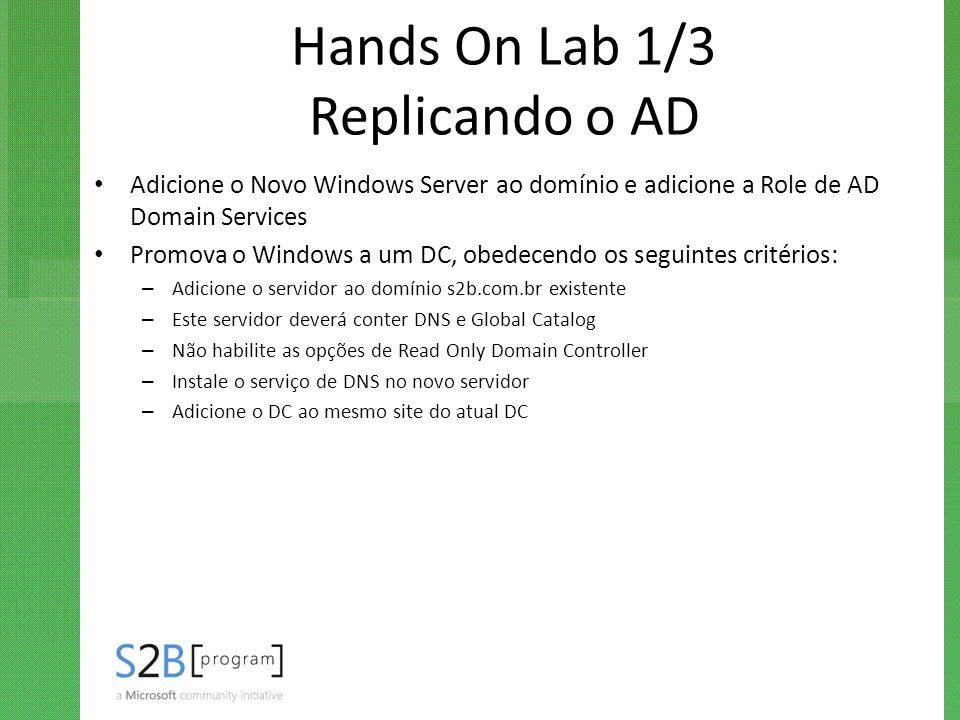 Hands On Lab 1/3 Replicando o AD