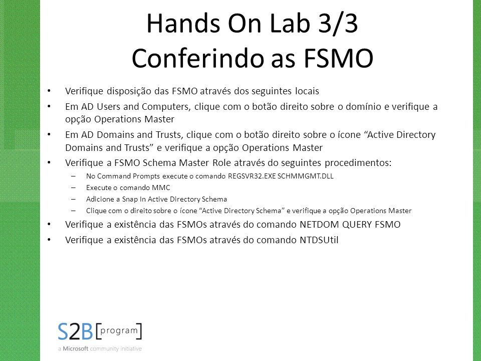 Hands On Lab 3/3 Conferindo as FSMO