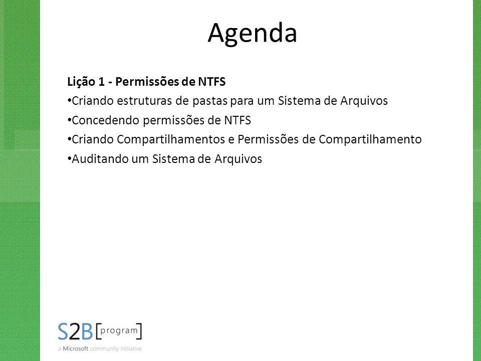 Agenda Lição 1 - Permissões de NTFS