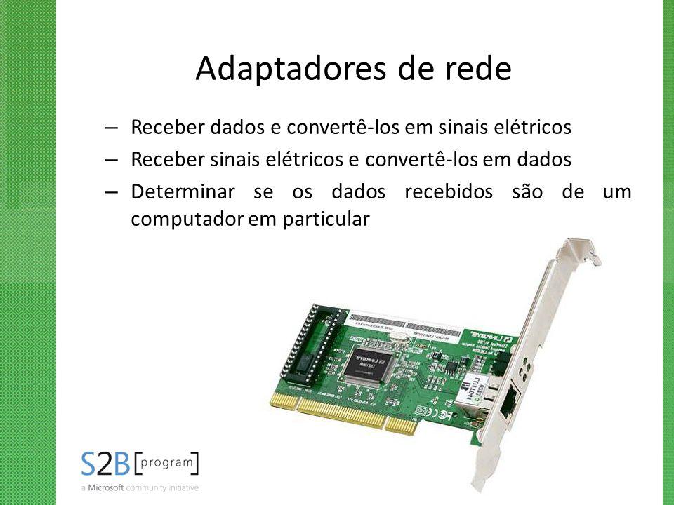 Adaptadores de rede Receber dados e convertê-los em sinais elétricos