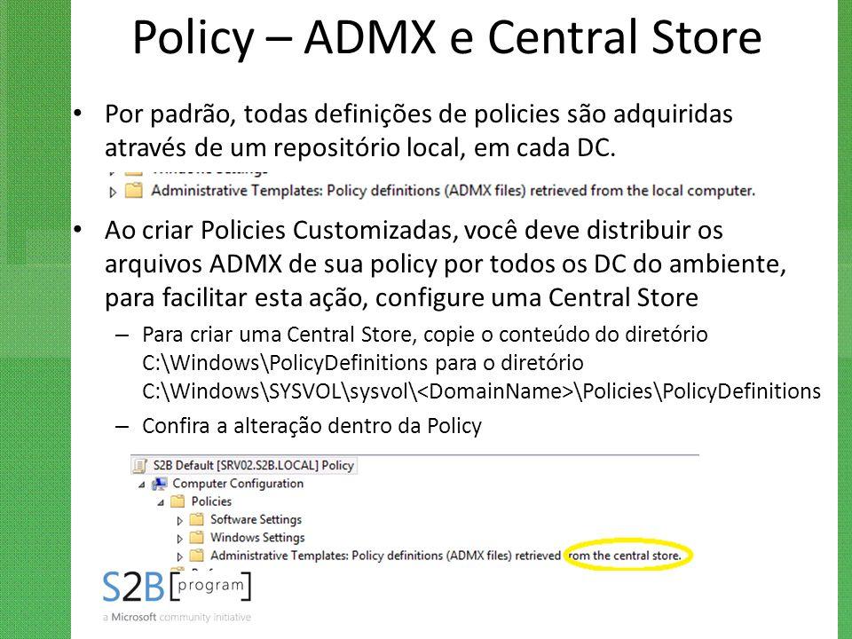 Policy – ADMX e Central Store