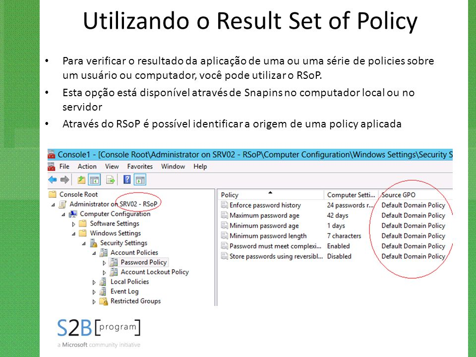 Utilizando o Result Set of Policy