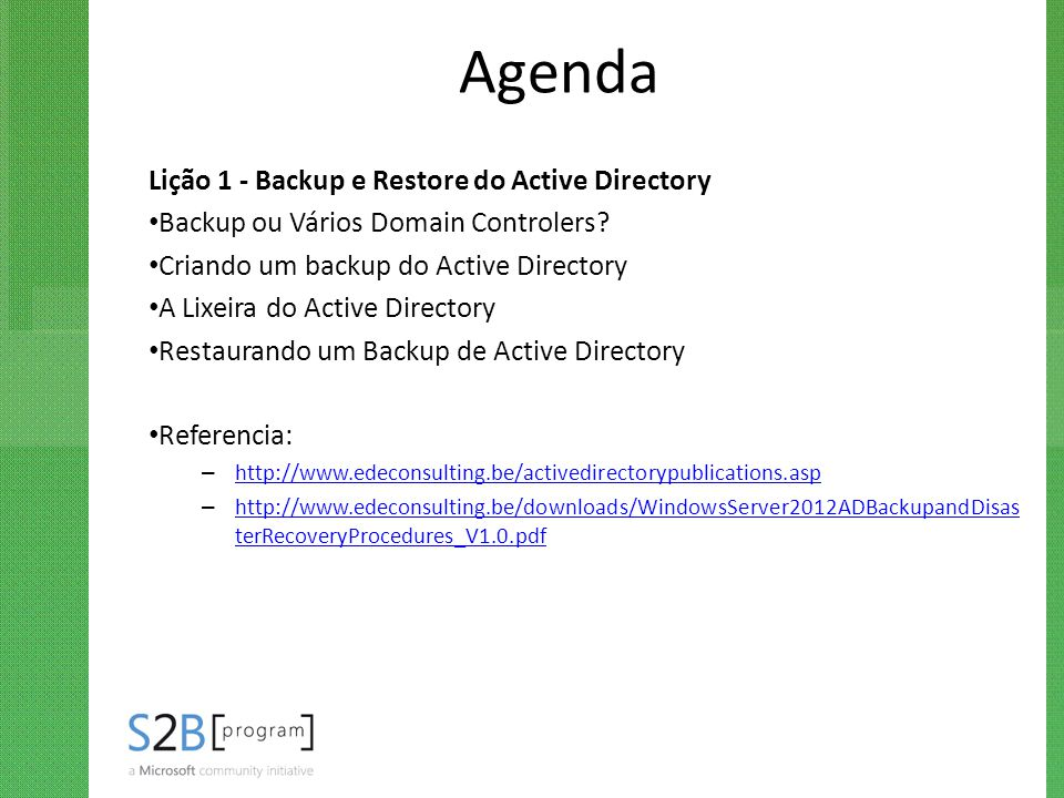 Agenda Lição 1 - Backup e Restore do Active Directory