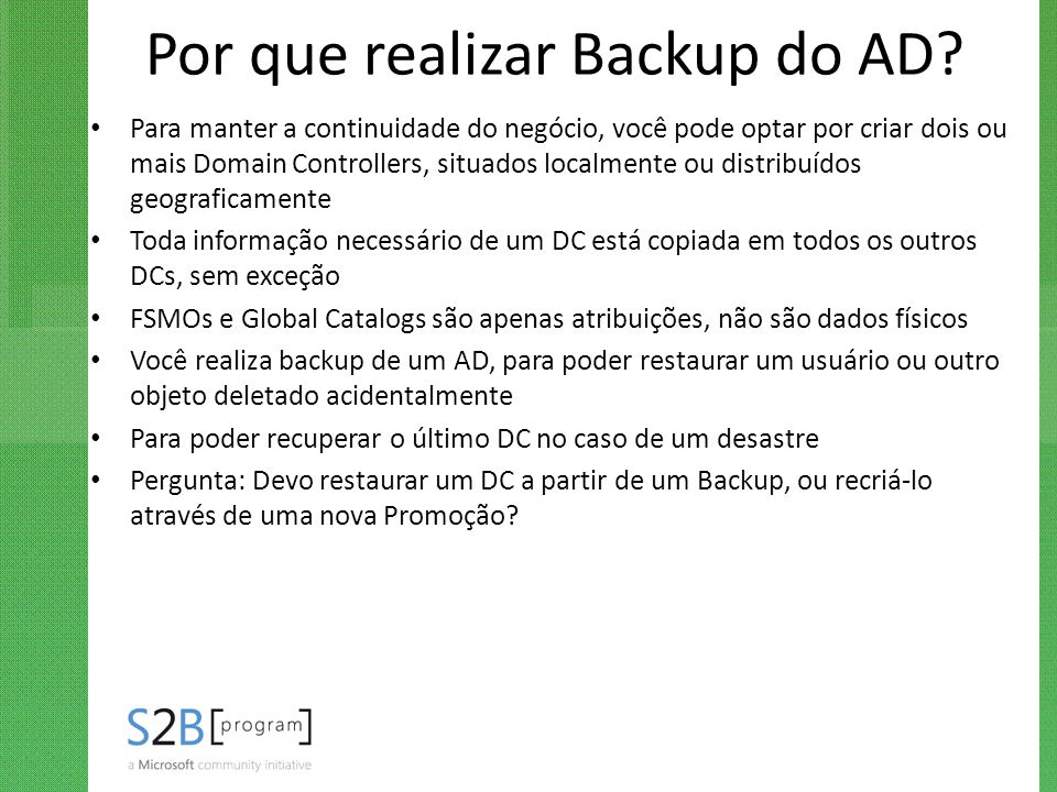 Por que realizar Backup do AD