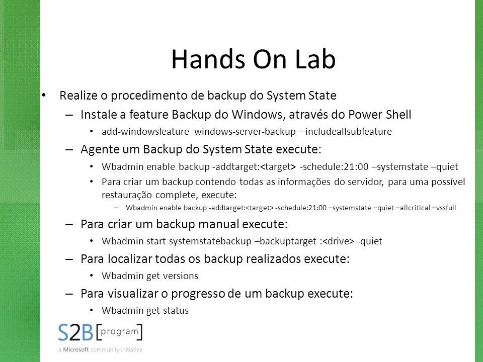 Hands On Lab Realize o procedimento de backup do System State