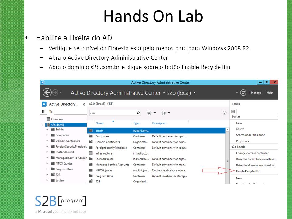 Hands On Lab Habilite a Lixeira do AD