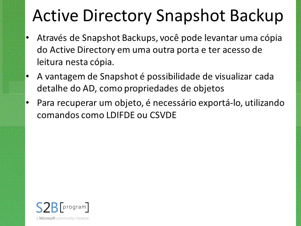 Active Directory Snapshot Backup
